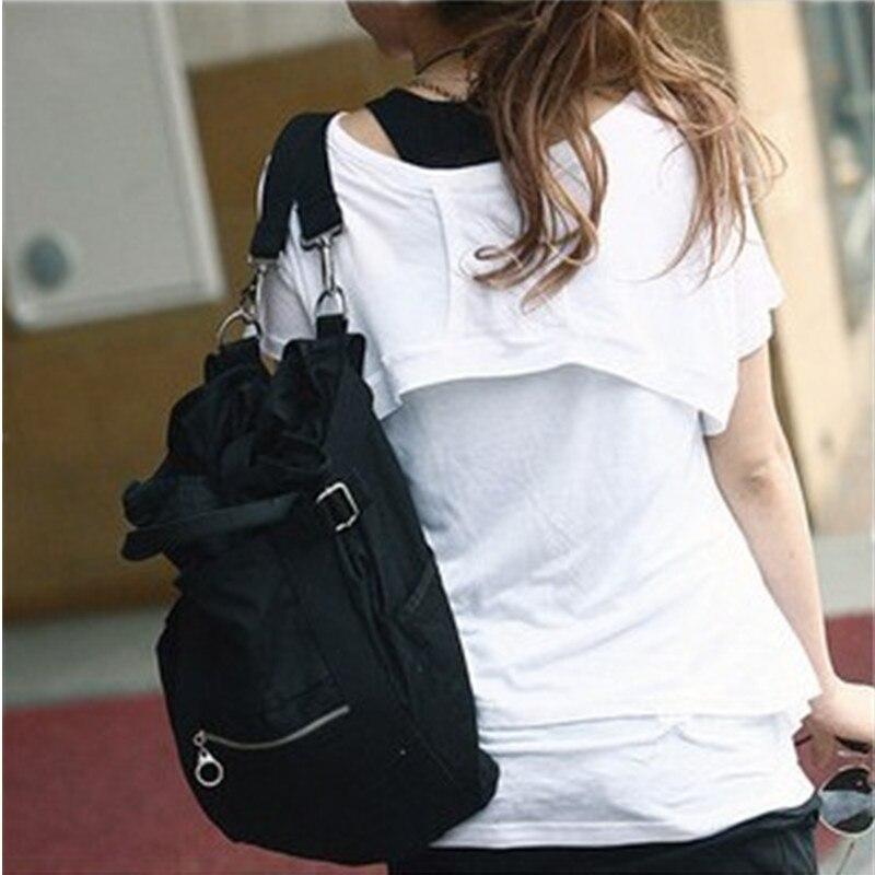 High Quality Black Canvas Backpacks Schoolbag Casual Travel Bag Crossbody Messenger Reglable Straps casual canvas satchel men sling bag