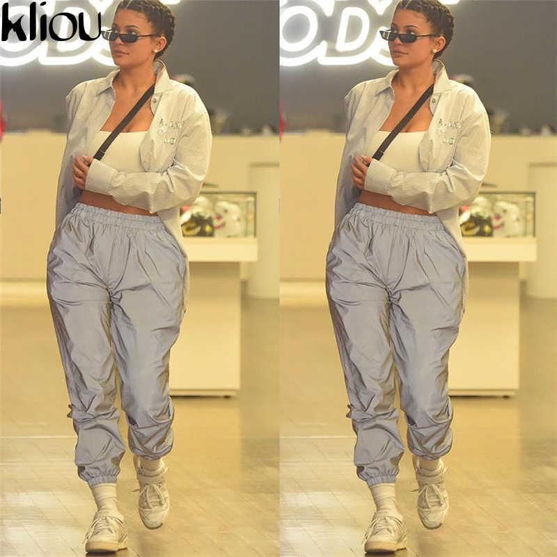 Kliou Новые женские модные длинные однотонные свободные брюки светоотражающие спортивные повседневные штаны с караманми на резинках