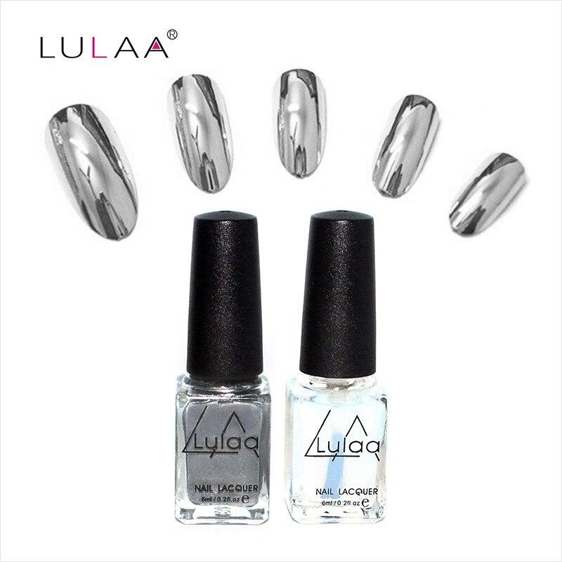 2pcs 6ml Mirror Nail Polish Metallic Lacquer Silver Nail Mirror Effect Metal Gold Nail Gel Polish Base Top Coat Nails Art Tips esmalte mirror metallic