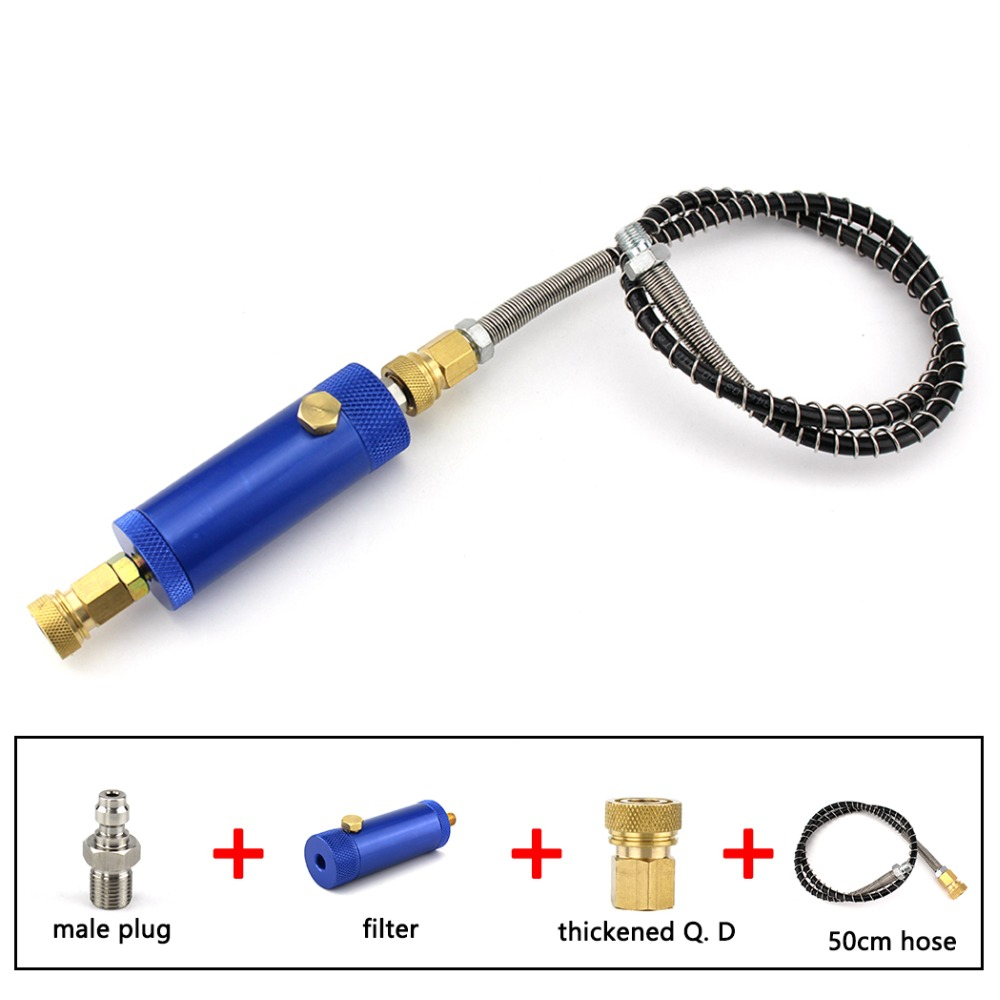 PCP Paintball Airforce High Pressure Hand Pump Filter With Safety Valve M10x1 Water-Oil Separator Air Filtering 8mm 50cm Hose