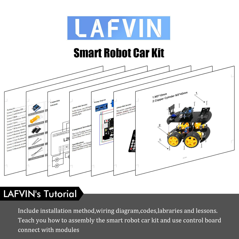 LAFVIN Smart Robot Car Kit include UNO R3,Ultrasonic Sensor, Bluetooth  Module for Arduino with Tutorial