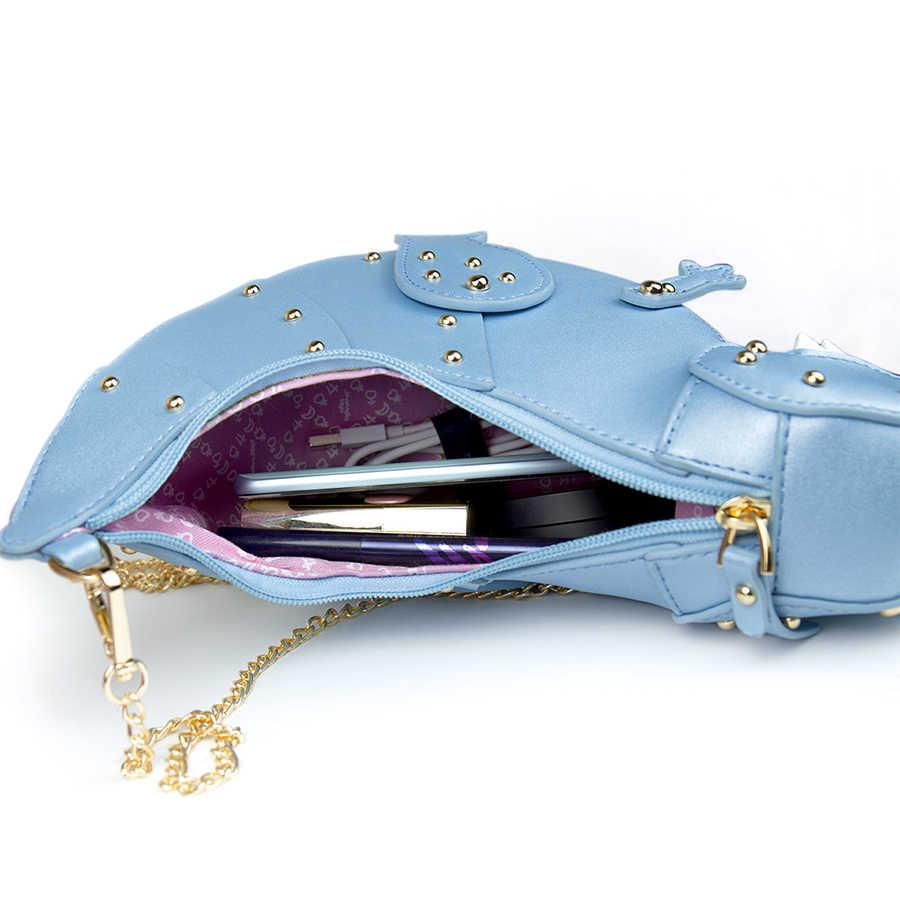 Синие заклепки динозавра женские сумки Мультяшные цепи сумки через плечо для женщин сумка 2019 кошелек дизайн, сумка-мессенджер