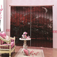 Red Flower Curtains For Living Room Modern Blackout Bedroom Finished Drapes For Window Treatment cortinas para sala de estar