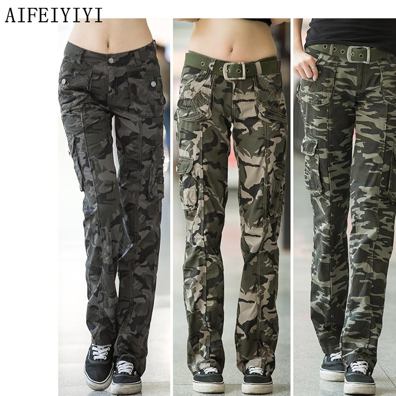 Women Workout Casual Military Camouflage Cargo Jeans Pants Denim Overalls Ladies Straight Multi-pocket Trousers Pantalon Femme