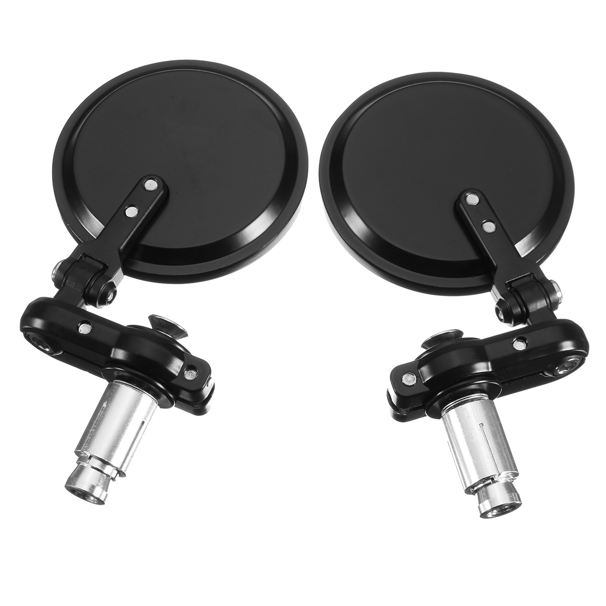 Motorcycle Bike Side Mirrors Black Aluminum Round Style Universal Fits 7/8