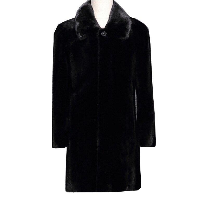New High Imitation Suede Coat Mens Long-Skinned Fur Coat Mink Fur Leather Large size Black jacket Size S M L XL XXL -5XL 6XL