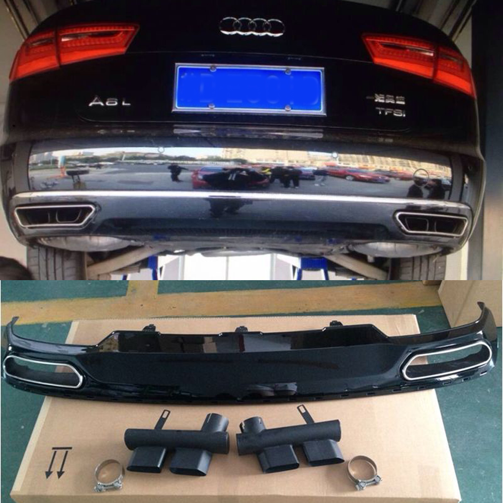 2012-2015 a6 c7 pare-chocs arrière lip diffuseur avec silencieux d'échappement tuyau pour audi a6 c7 standard bumper
