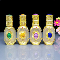 15 ML 1 חתיכה High-end Aromatherpy ריק זכוכית חיוני שמן, בקבוק זהב בקבוקון טפטפת מכולות, בקבוקי בושם זכוכית פיפטות