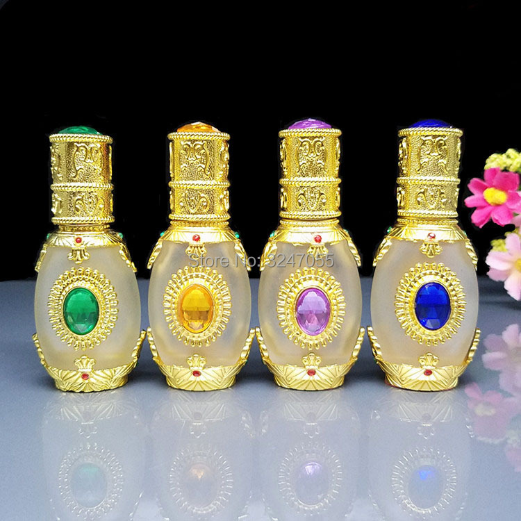 15ML 1Piece High-end Glass Empty Aromatherpy Essential Oil Bottle, Gold Vial Dropper Container, Glass Pipettes Perfume Bottles 2pcslot 15ml cc hollow out copper color middle east essential bottle for oils perfume empty glass bottle for wedding decor