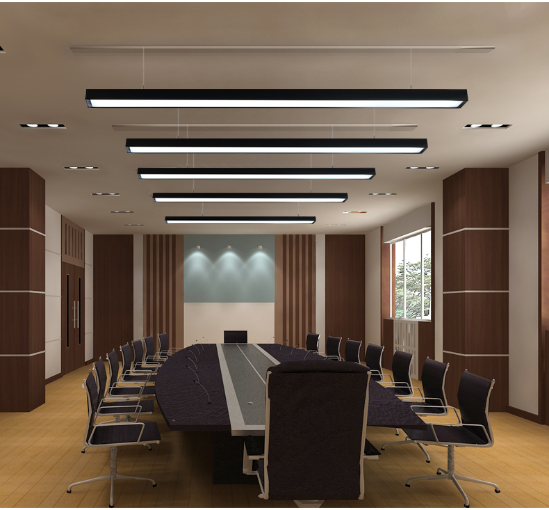 LED office chandelier modern simple office long strip ...