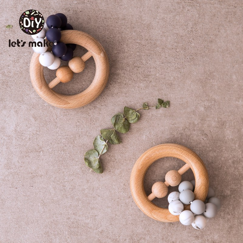 Let's Make 1pc Baby Rattles Bpa Free Beech Wooden Ring Teething Toys Food Grade Silicone Beads Nursing Baby Teether Wood Rattle