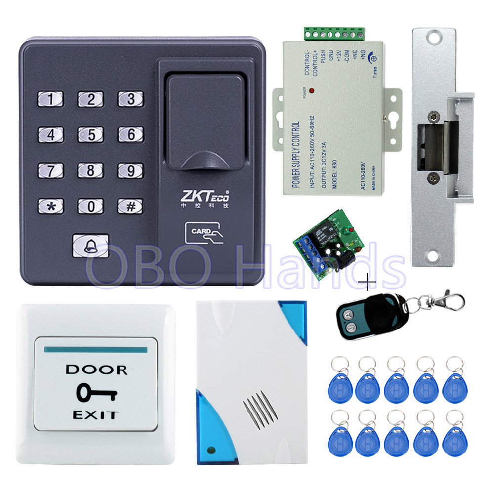 Full kit biometric fingerprint access control X6 electric strike lock power supply exit button door bell
