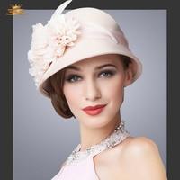 Lady Autumn winter hat female fedoras Wool Hat British fashion South Korea style hat with flower Winter Hat B-1158