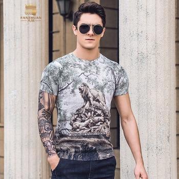 FANZHUAN免运费男士男2019夏季新款狮子印花网眼面料透气95%纯棉T恤短袖925026 roupas da moda masculina 2019
