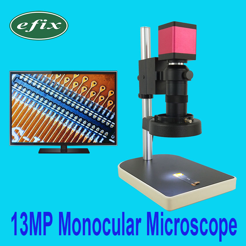 efix 13MP Digital Camera HDMI VGA Monocular Microscope HD+56 LED Ring Light+100x C Mount lens Stand Repair Phone Soldering Tool
