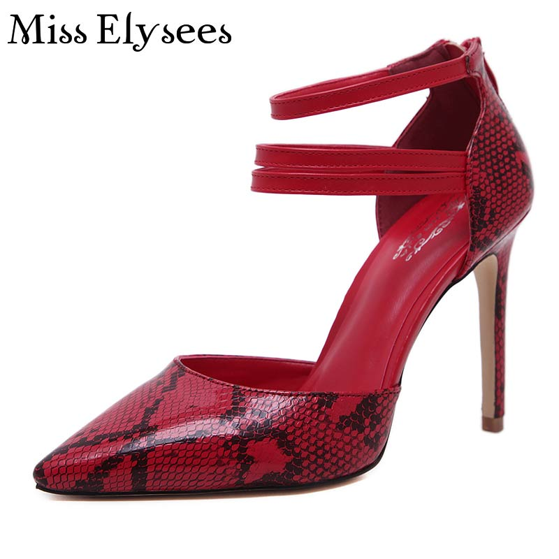 ФОТО Popular Brand Style High Heels Women 2017 Snake Prink Pumps Pointed Toe Ankle Strap Thin Heels Women's Shoes Plus Size 35-40