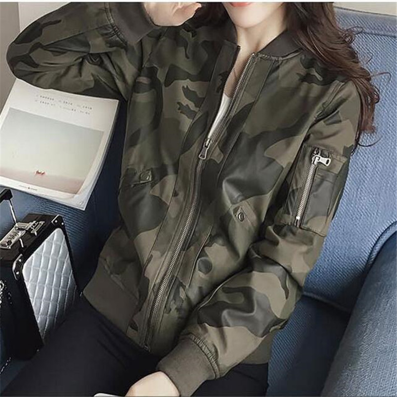 2018 New Bomber Jacket Long Sleeve Camouflage Korean Style Women Casual Fashion Coat Female Baseball Women Jacket Autumn A3284