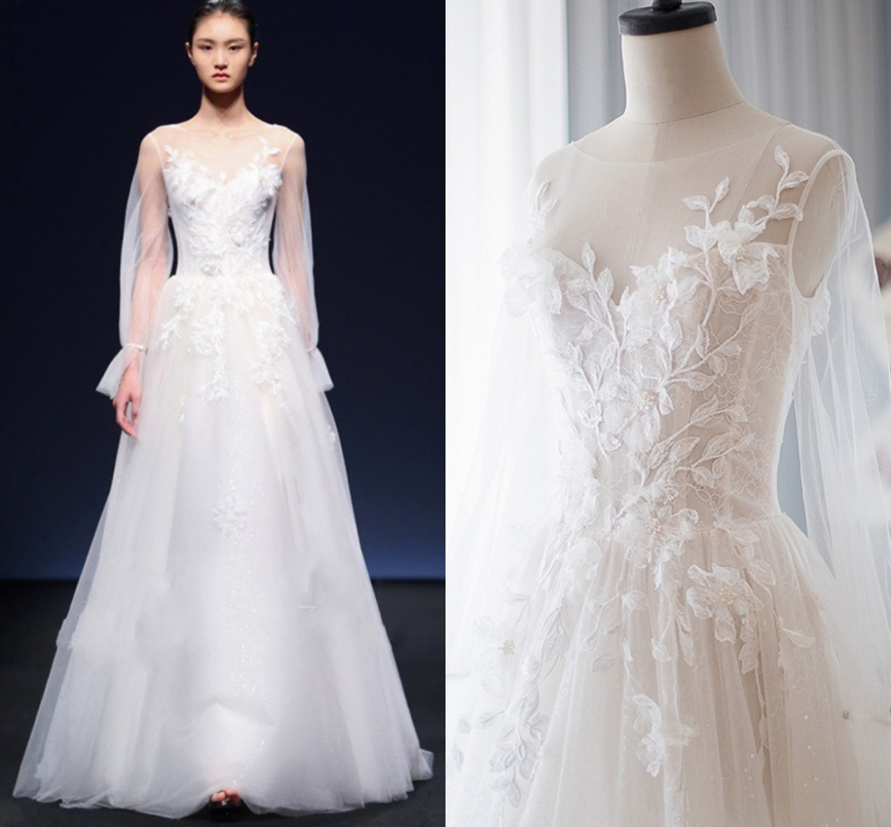 Long Sleeve Lace Dress For Wedding Party High End 2019