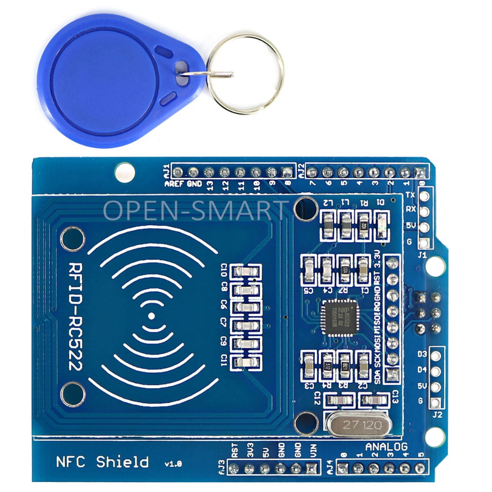 NFC Shield RFID RC522 Module RF IC Card Sensor + S50 RFID Smart Card for Arduino UNO / Mega2560