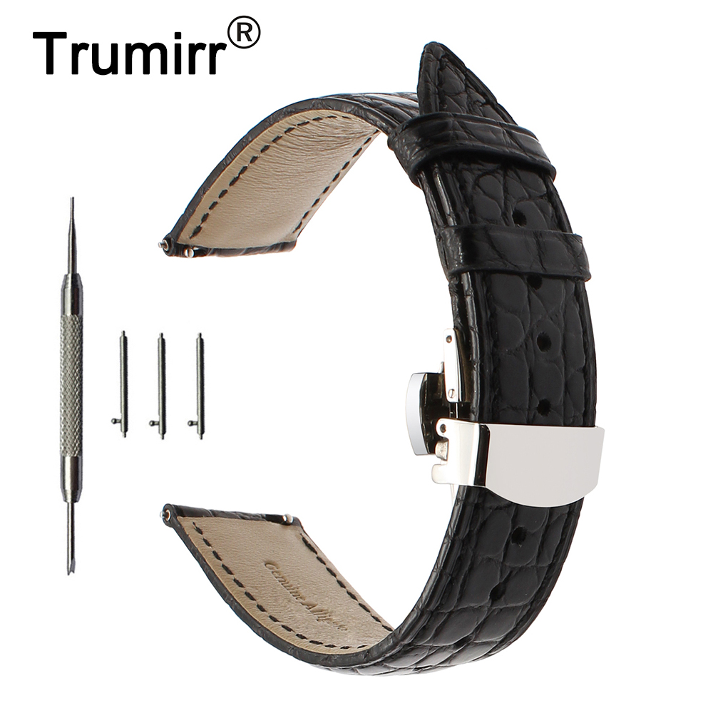 Genuine Crocodile Leather Watchband 18mm 20mm 22mm Quick Release Watch Band Steel Butterfly Buckle Strap Wrist Belt Bracelet 18mm 20mm 22mm quick release watch band butterfly buckle strap for tissot t035 prc 200 t055 t097 genuine leather wrist bracelet