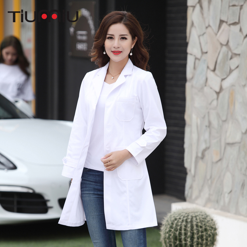 New Arrival Hospital Doctor's Clothing Women Long Short Sleeves Medical Uniform Beauty Salon V-neck White Lab Coat Nurse Uniform
