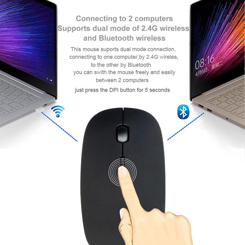 Bluetooth 3 0 2 4Ghz Wireless Dual Mode 2 In 1 Cordless Mouse 1600 DPI Ultra