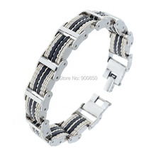 Trendy 316L Stainless Steel Chain Bracelets for Men Woman Black Silver Bracelet Cuff Bangle Wristband