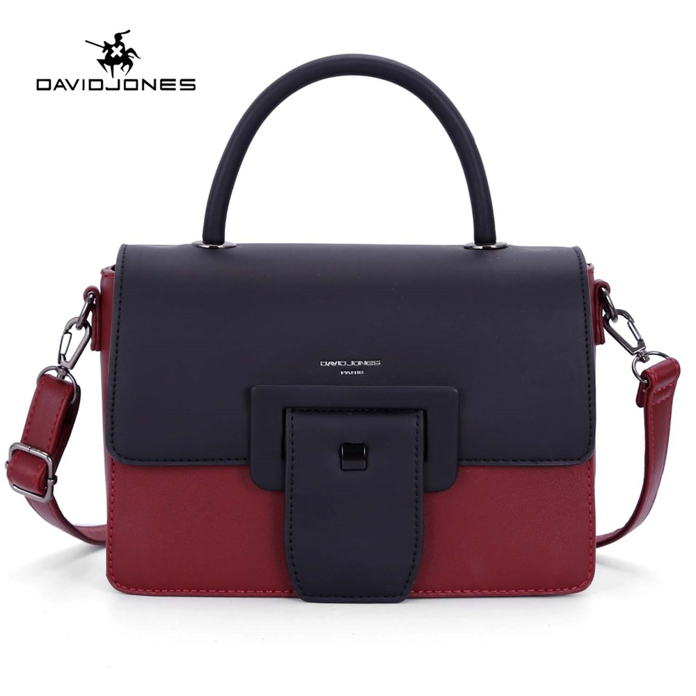 DAVIDJONES women handbag faux leather female messenger bags small lady patchwork shoulder bag girl crossbody bag drop shipping цена 2017