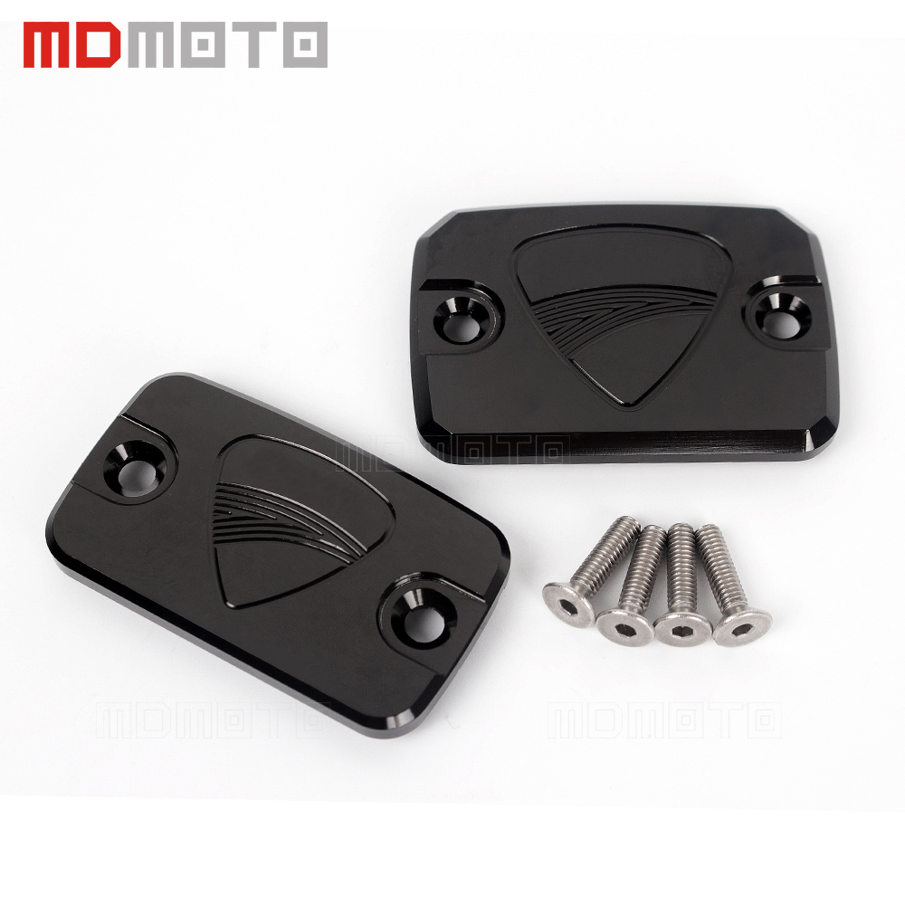a pair Motorcycle protector CNC Front Brake Fluid Reservoir Cover Oil Cap For ducati Monster 695 696 796 Monster Hypermotard 796 universal motorcycle brake fluid reservoir clutch tank oil fluid cup for mt 09 grips yamaha fz1 kawasaki z1000 honda steed bone