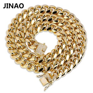 Image 1 - JINAO Gold Cuban Link Chain Necklace Hip Hop Miami Iced Out Cuba Chain with Cubic Zirconia n Jewelry Buckle Best Gift for Men