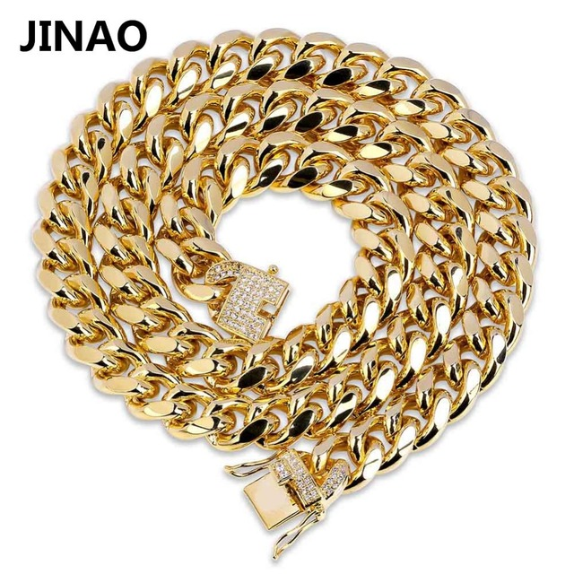 b44ae1fab1b60 JINAO Gold Cuban Link Chain Necklace Hip Hop Miami Iced Out Cuba Chain with  Cubic Zirconia