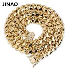 JINAO altın küba Link zinciri kolye Hip Hop Miami buzlu Out küba zincir kübik zirkonya ile n takı toka en iyi erkekler için hediye