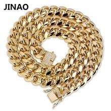 JINAO الذهب الكوبية ربط سلسلة قلادة الهيب هوب ميامي مثلج خارج كوبا سلسلة مع زركون n مجوهرات مشبك أفضل هدية للرجال