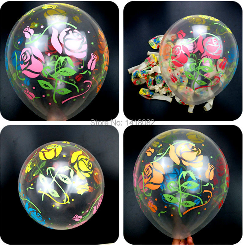 12inch Transparent Flower Print Balloons Rose Happy Birthday Party Decoration Wedding Baloon Inflatable Air Ball Kid Toy Gift