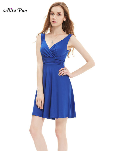 Women Clothing Dresses Alisa Pan  AS05294  Women V-neck Sleeveless High Stretch Summer Casual Dress Royal Blue