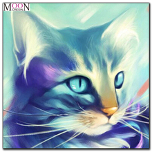 MOONCRESIN 5D Diy Diamond Painting Cross Stitch Colorful Cat Mosaic Full Round Embroidery Decoration Animals Kit