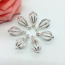 10pcs Bright Silver Water Drop Design Copper Cage Locket Fragrance Perfume Essential Oil Diffuser Pendant Jewelry Women Gifts