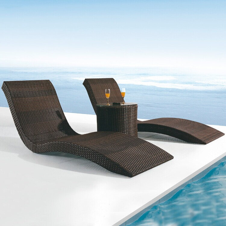 Outdoor Lying Bed Lounger By The Indoor Garden Terrace Sun Beds Deck
