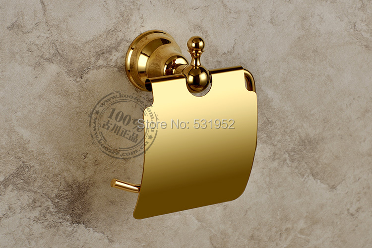 っfree Shipping Gold Plate Wall Mounted Toilet Roll Holders Toilet