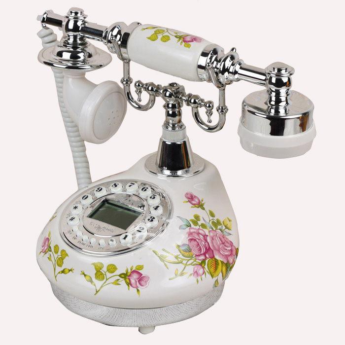 Antique ceramics Home Decor Desk telephone fashion fitted antique telephone gold black silver Floral telefon telefone fixo