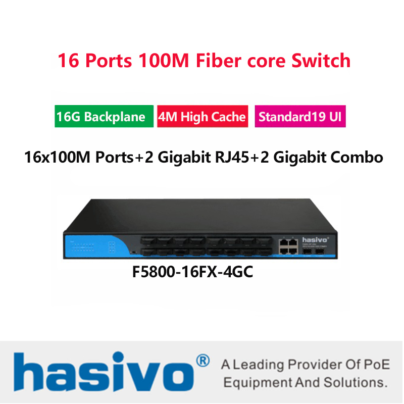 Fiber Optical 16 ports SFP fiber with 2 rj45 gigabit combo  optical ethernet switch for ip camera