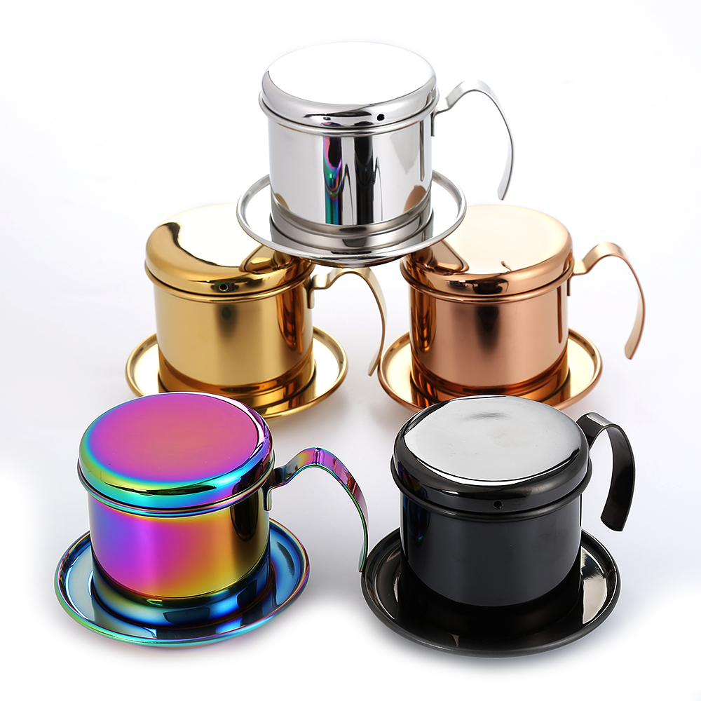 Realand Top Stainless Steel Vietnam Coffee Pour Over Dripper Maker Filter Single Cup Brewer Press Percolator Home Outdoor Use