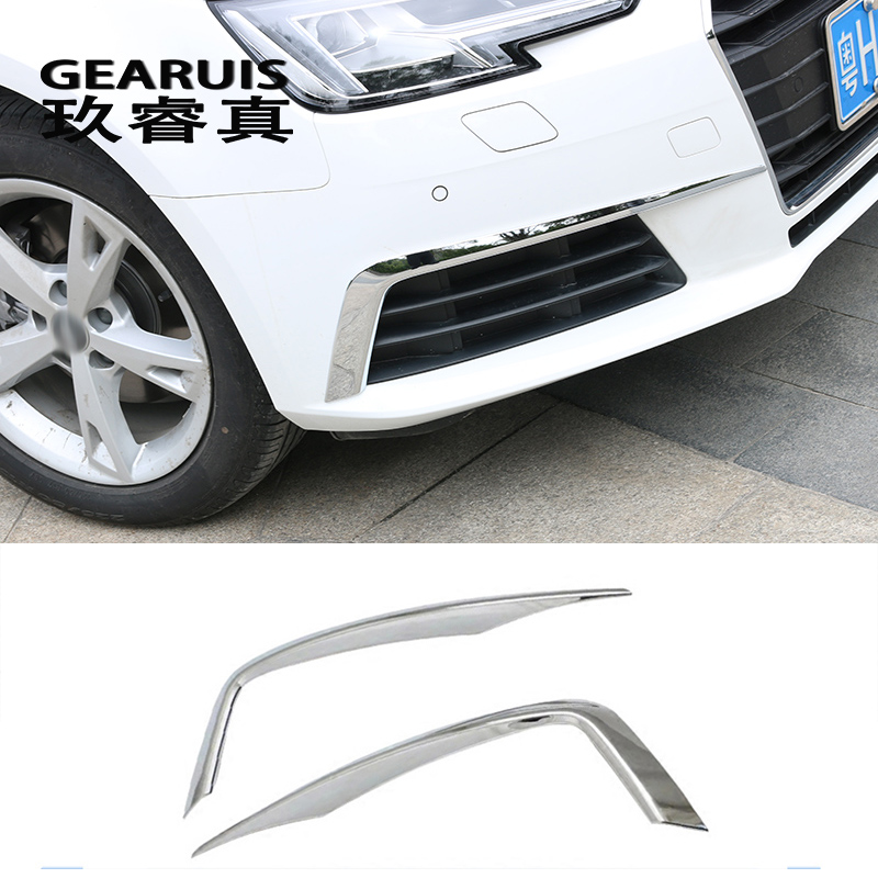 Car-styling fog lamps cover grille slats car fog lights cover Stickers decorative strips for Audi A4 B9 2017 auto Accessories car front fog lamps cover grille slats car fog lights cover decoration strips car styling for mercedes benz e class w213 2016