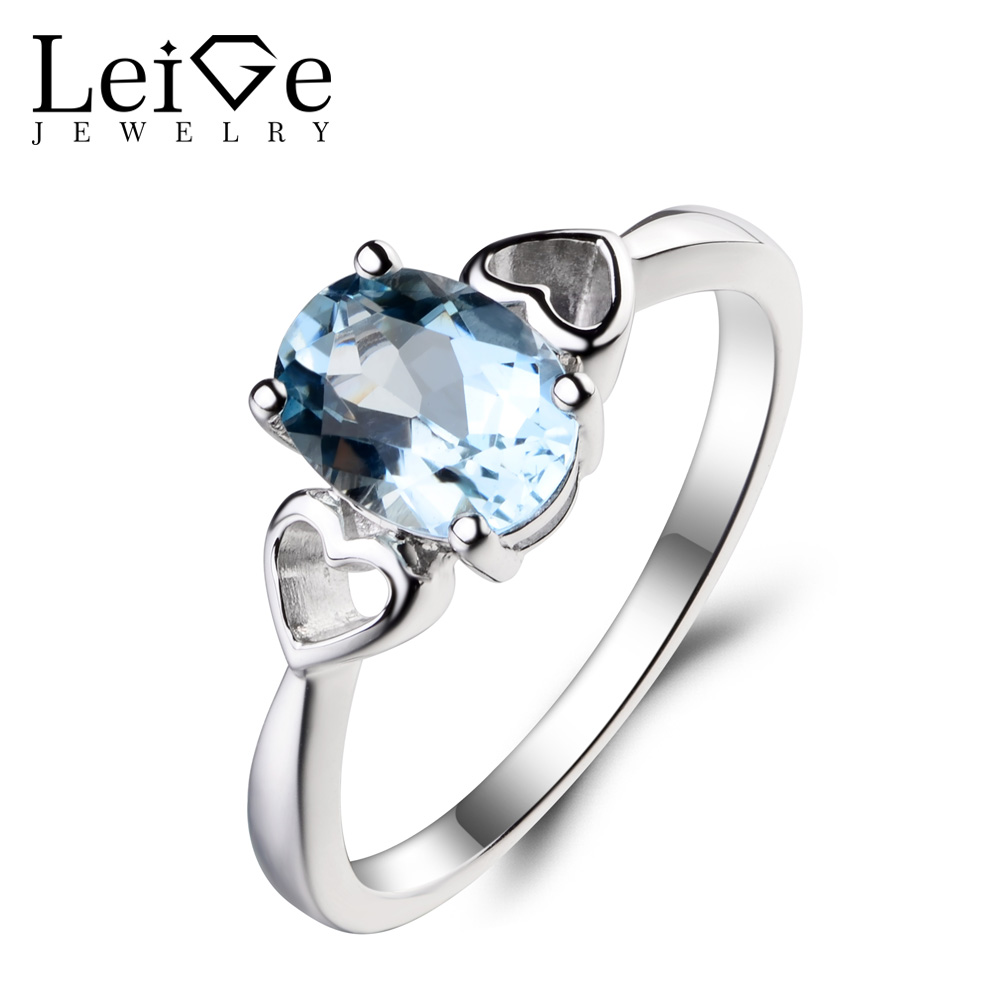 Leige Jewelry March Birthstone Real Natural Aquamarine Ring Promise Ring Blue Gemstone 925 Sterling Silver Ring Heart Shape RingLeige Jewelry March Birthstone Real Natural Aquamarine Ring Promise Ring Blue Gemstone 925 Sterling Silver Ring Heart Shape Ring