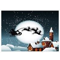 ויניל יום חג המולד קרח ושלג, בית, איילים מזחלת על הירח רקע חלק בד 2.1*1.5 M (7 * 5ft) Seamless צילום B