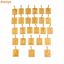 Anniyo ONE PIECE Square Letter Charms Initial Gold Color ONLY PENDANT Men Women English