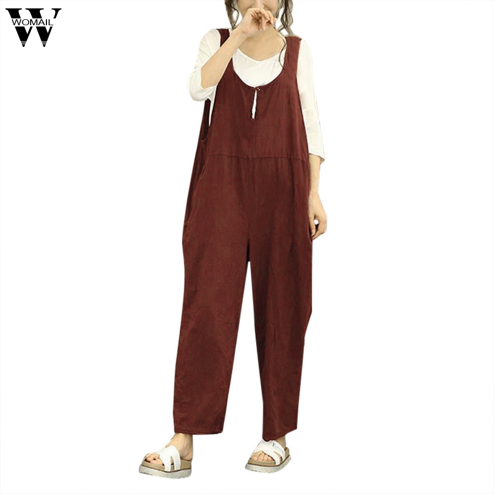 Womail bodysuit Women Summer Fashion Sleeveless Dungarees Loose Cotton Long Playsuit Jumpsuit Trousers NEW dropship M7