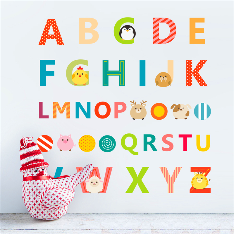 Creative 26 english letters alphabet wall stickers for for Alphabet mural nursery