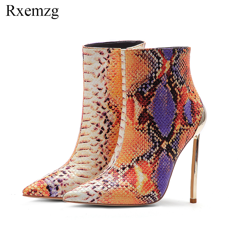 Rxemzg women zipper boots snake print ankle boots 12cm high heels fashion pointed toe ladies sexy