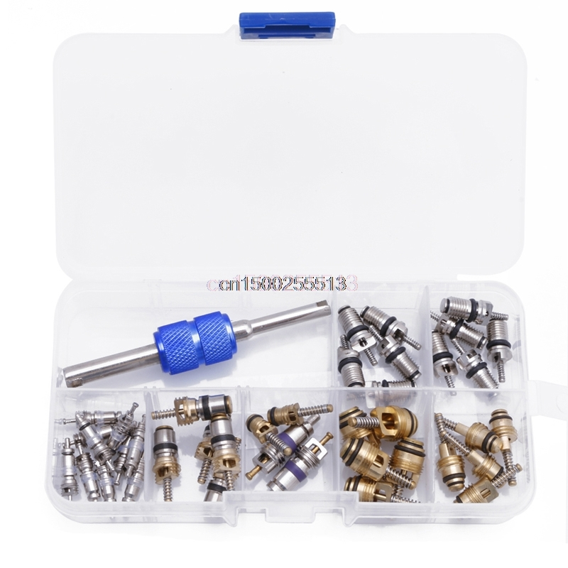 39Pcs R12 R134A Car Air Conditioning A/C Tire Valve Stem Core Remover Tool Kit